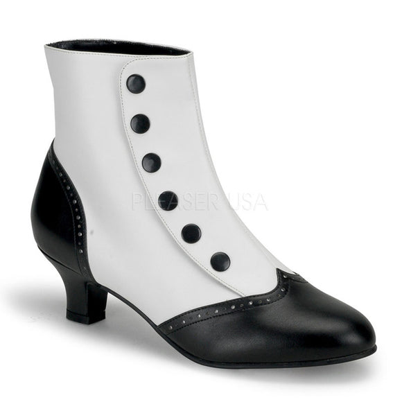 Bordello - Flora1023 White-Black Pu SPatent Ankle Boot - Egg n Chips London