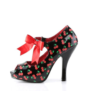 Pin Up Couture - Cutiepie Black-Red Patent Mary Jane Shoe with Cherries Print