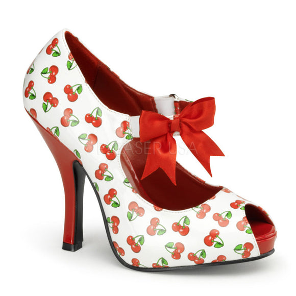 Pin Up Couture - Cutipie White-Red Patent Mary Jane Shoe with Cherries Print - Egg n Chips London