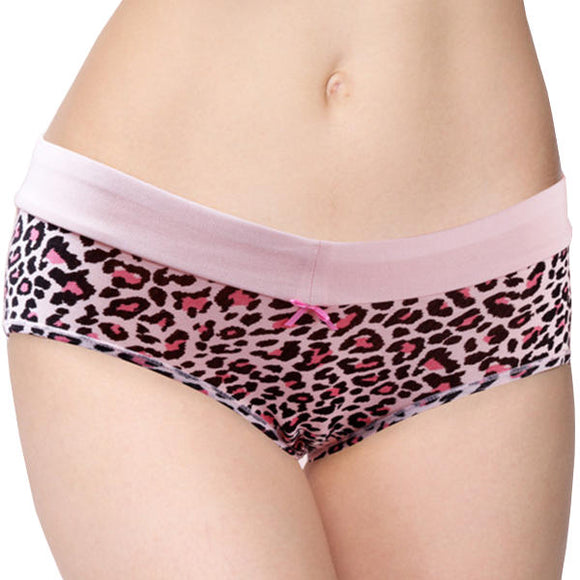 Sexy Soft Modal Bow Leopard Mid Waist Breathable Panties