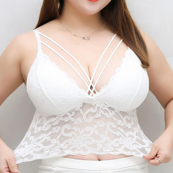 Plus Size Lace Cross String Hollow Sling Longline Camisole Bra
