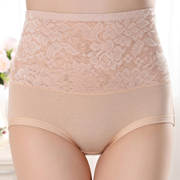 Hip Up Lace Floral High Waist Jacquard Underwear Soft Seamless Briefs