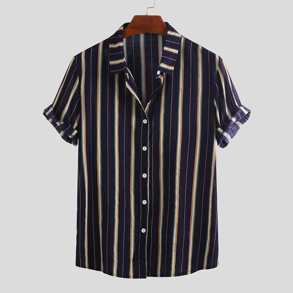 Mens Vertical Striped Summer Short Sleeve Casual Fashion Shirt