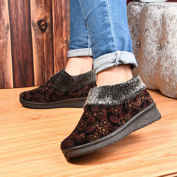 Suede Flower Soft Sole Round Toe Warm Ankle Snow Boots