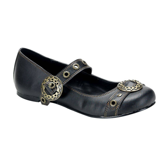Demonia - Women's Steampunk Goth Punk Ballet Flat Mary Jane Style with Gear Buckle
