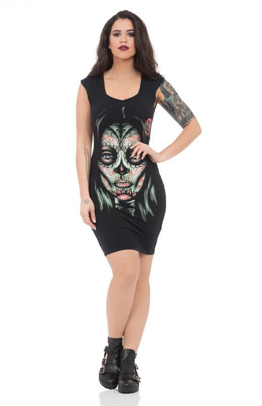 Jawbreaker Clothing - Day of The Dead Cross Back Dress - Egg n Chips London