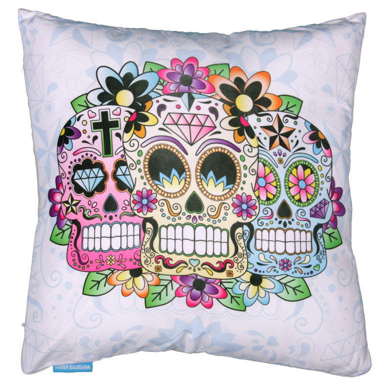 Lauren Billingham - Day Of The Dead Sugar Skull Cushion - Egg n Chips London