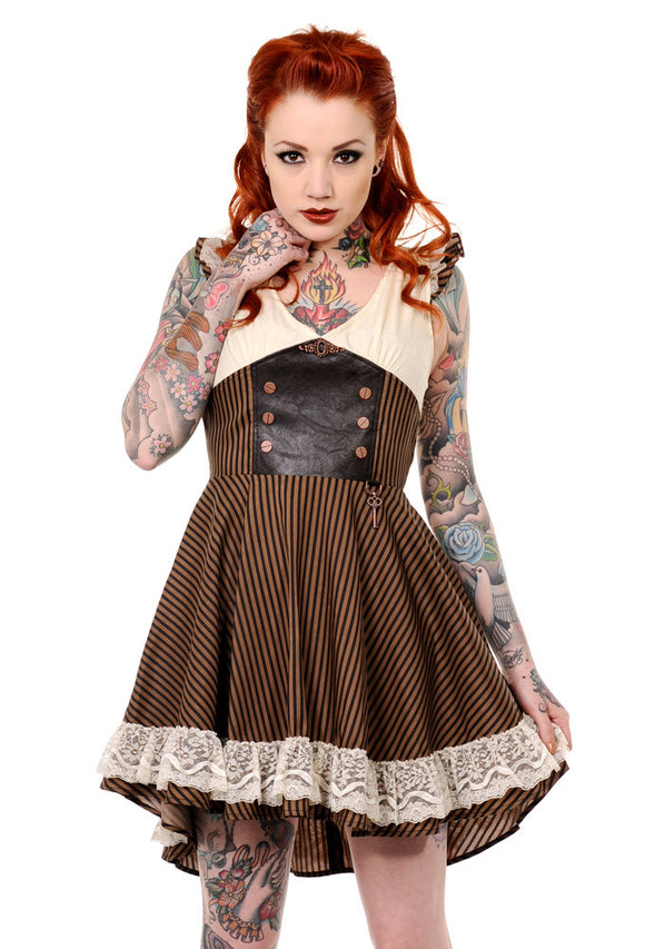 Banned Clothing - Retro Brown Black Striped Steampunk Dress - Egg n Chips London