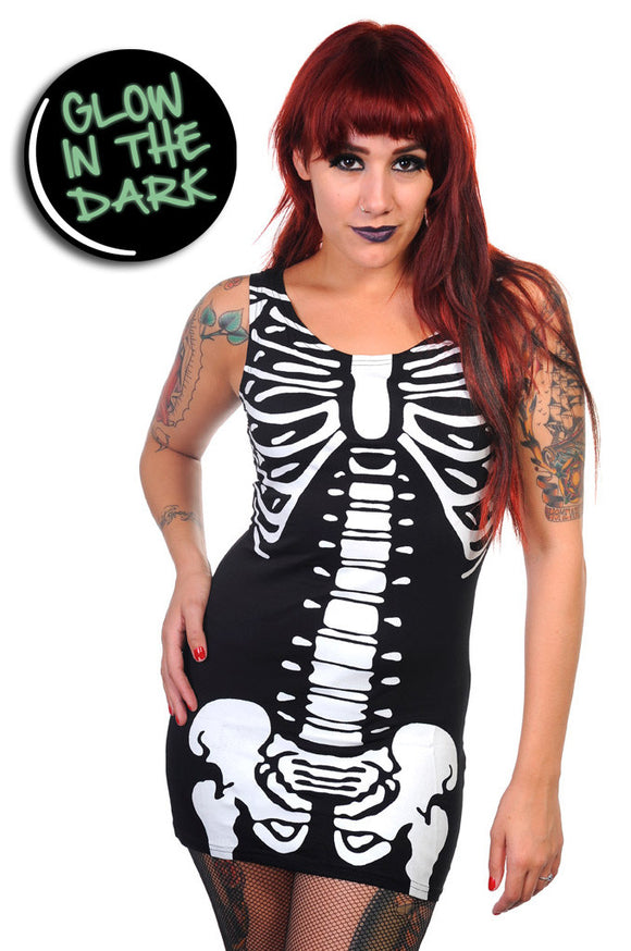 Banned Clothing - Glow In The Dark Skeleton Long Tank Top - Egg n Chips London
