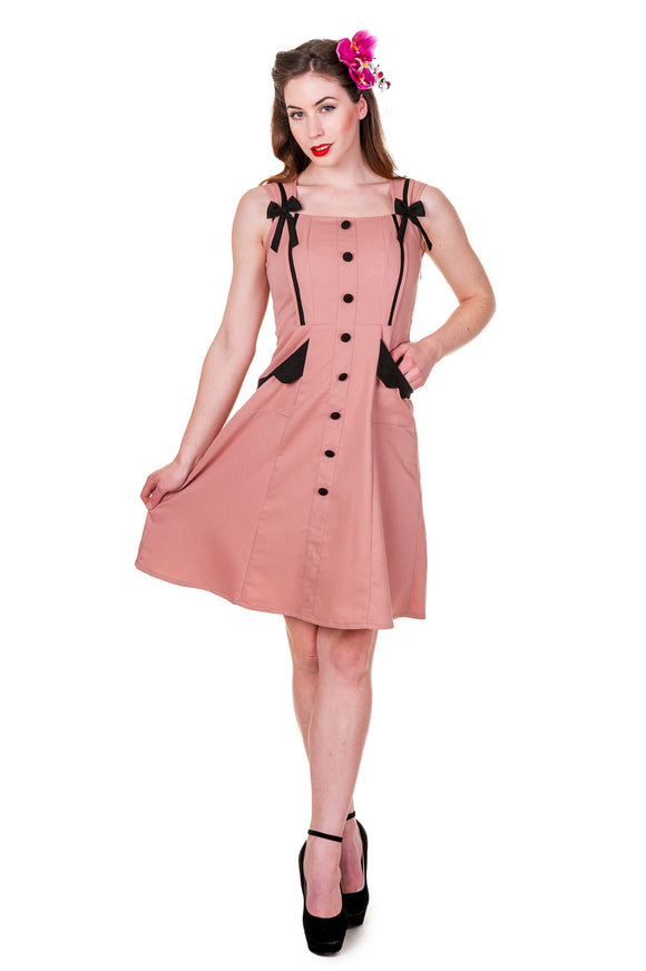 Banned Clothing - Dusty Pink Retro Dress - Egg n Chips London