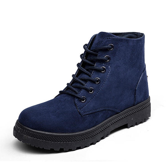 Lace Up Suede Casual Soft Outdoor Flat Boots