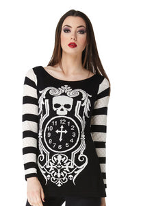 Jawbreaker Clothing - Death Clock Longline Monochrome Jumper - Egg n Chips London