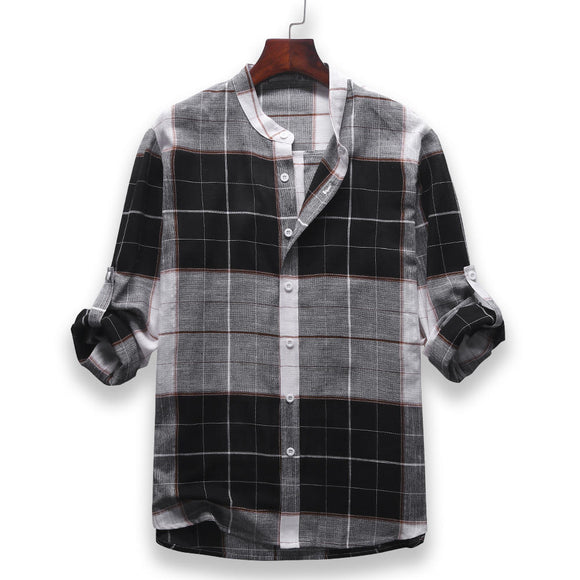 Mens Fashion Casual Plaid Stand Collar Long Sleeve Shirt