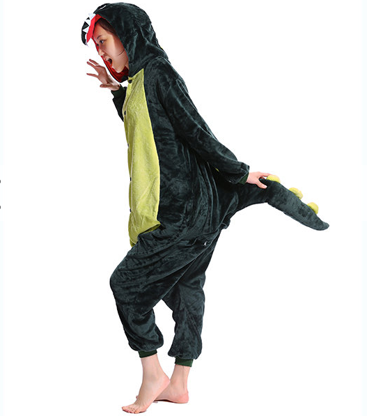 Mengshufen - Dinosaur Animal Style Flannel Jumpsuit Pyjamas - Egg n Chips London