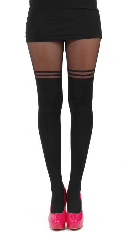 Pamela Mann - Double Line Over The Knee Black Tights - Egg n Chips London
