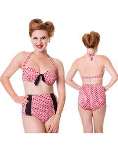 Banned Apparel - Dusty Pink Polka Dot Retro Bikini Top - Egg n Chips London