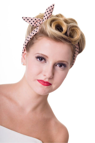 Banned Apparel - Dusty Pink Polka Dots Hairband