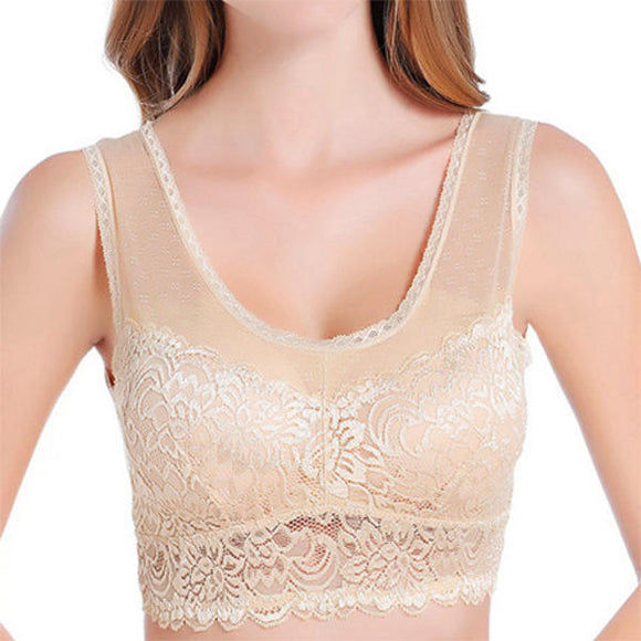 Lace-trim Embroidery Modal Wireless Sleep Breathable Bando Bra