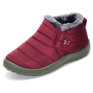 LOSTISY BJ Shoes Warm Wool Lining Flat Ankle Snow Boots
