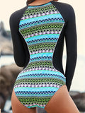 One-Pieces Zipper Front Long-Sleeved Printing Surf Clothing Swimwear
