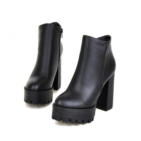 Casual Platform High Heel Ankle Boots Fashion Faux Leather Boots