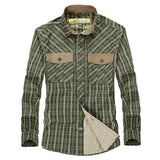 Mens Plaid Turn-down Collar Cotton Casual Long Sleeve Shirt
