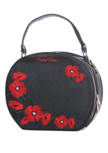 Voodoo Vixen - Embroidered Poppies Retro Round Handbag - Egg n Chips London