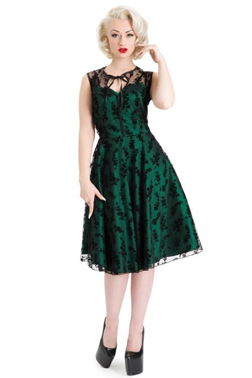 Voodoo Vixen - Emerald Lace Flare Dress - Egg n Chips London