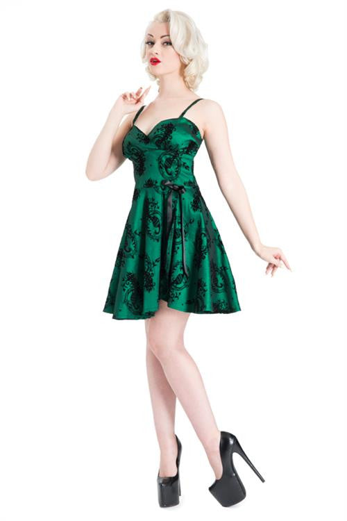 Voodoo Vixen - Sally Emerald Peacock Skater Dress