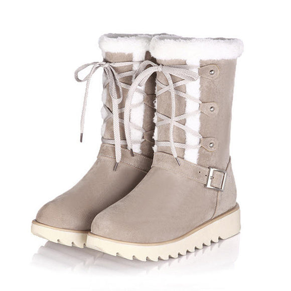 Flats Cotton Snow Boots Lace Up Fur Lining Ankle Boots