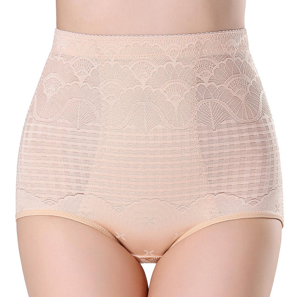 Mesh Hip Up Tummy Control Soft High Waist Jacquard Shaping Panties