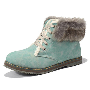 Fur Lining Lace Up Ankle Winter Snow Boots