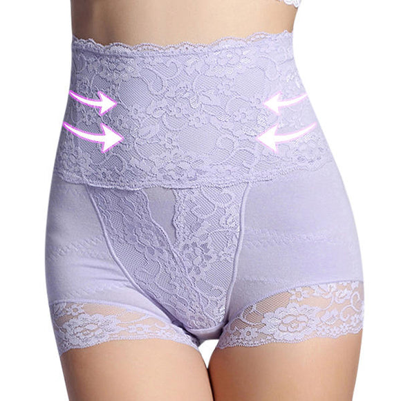 Women Plus Size High Waist Hip Shaping Lace Cotton Comfy Soft Shapewear