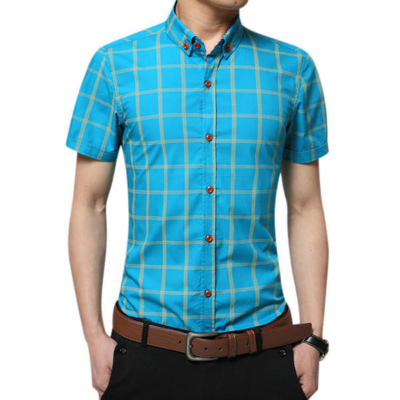 Business Casual Plaid Printed Slim Fit Cotton Short Sleeve Dress Shirt