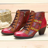 SOCOFY Bohemian Splicing Flower Pattern Lace Up Zipper Ankle Leather Boots