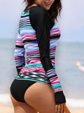 Zipper Front Sun Protection Long Sleeve Plaid Stripe Surfwear Tankinis