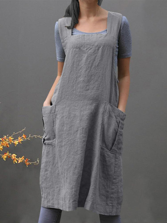 Sleeveless Side Pockets Cotton Loose Solid Color Vintage Apron Dress SALE