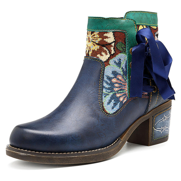 SOCOFY Bohemian Floral Pattern Leather Zipper Lace Up Ankle Boots