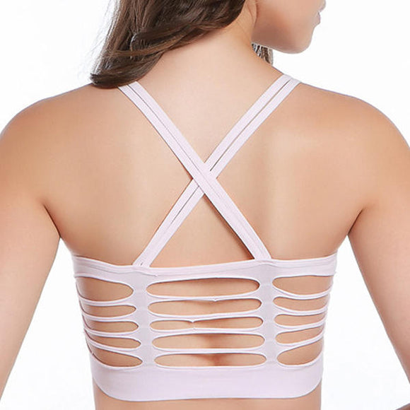 Raw Cut Pure Color Cross-Criss Back Hollow Trendy Bra