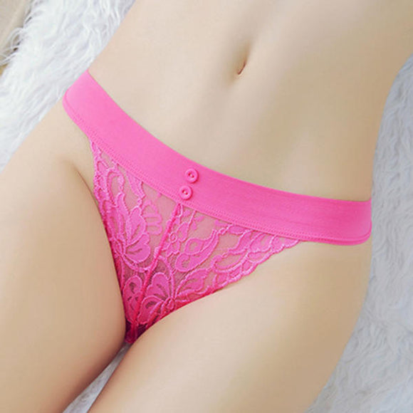 Seduced Ladies Underwear Fresh Button Hollow Lace T back Briefs
