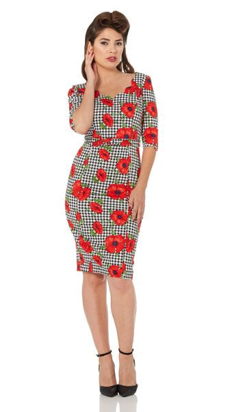Voodoo Vixen - Flanders Check Poppy Print Pencil Dress - Egg n Chips London