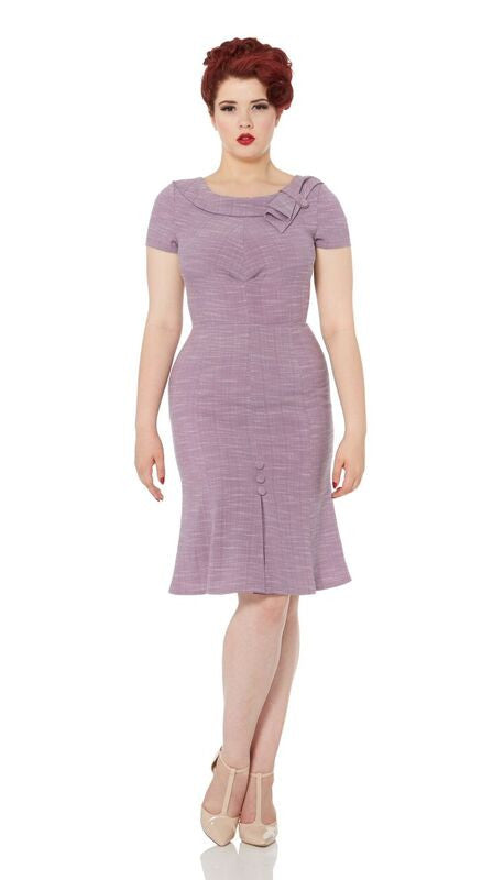 Voodoo Vixen - Gabriela Lilac Pretty Flounce Pencil Dress - Egg n Chips London