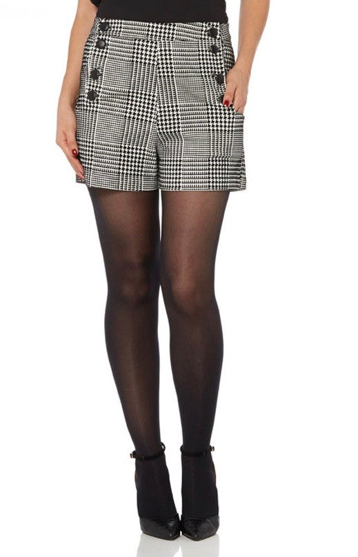 Voodoo Vixen - Georgie Houndstooth High Waisted Shorts - Egg n Chips London