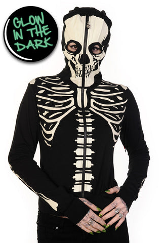 Banned Apparel - Glow In The Dark Skeleton Hand Hoodie
