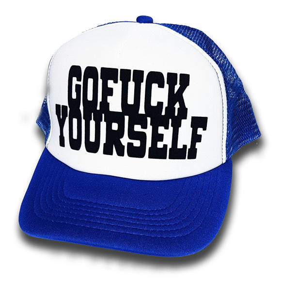 Toxico Clothing - GFY Trucker Hat (Blue/White) - Egg n Chips London