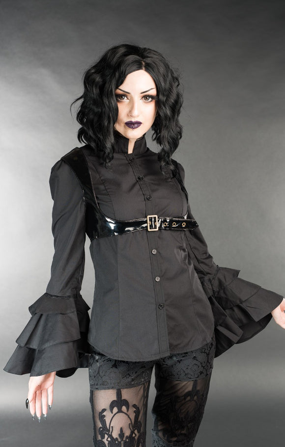 Dracula Clothing - Gothic Black Steampunk Buckle Blouse