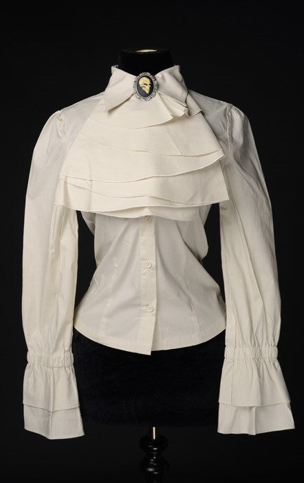Dracula Clothing - Gothic Cream Cotton Steampunk Elegant Cravat Blouse