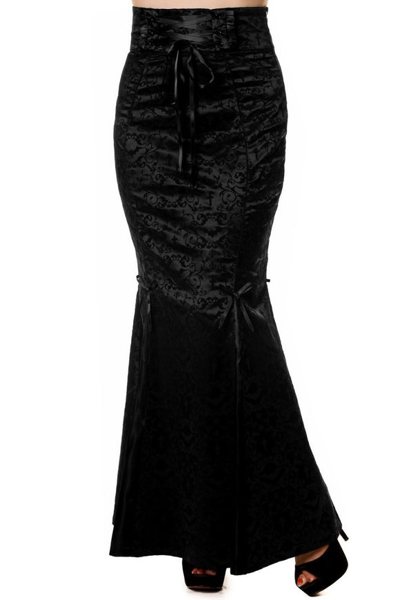 Banned Apparel - Gothic Ivy Pattern Black Long Skirt - Egg n Chips London