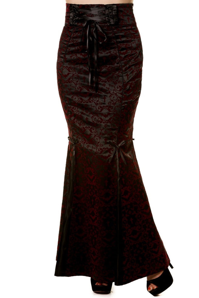 Banned Apparel - Gothic Ivy Pattern Long Burgundy Skirt - Egg n Chips London