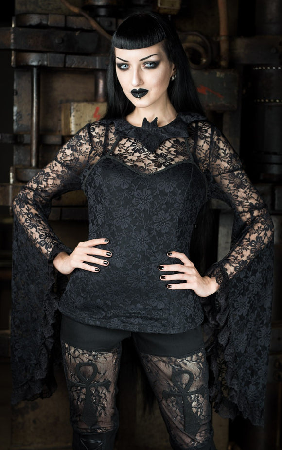 Dracula Clothing - Gothic Bat Trumpet Steampunk Sleeved Top